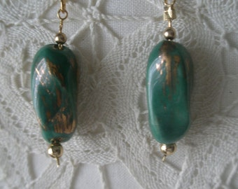 Vintage Green and Brushed Gold Ceramic Dangle Earrings on Gold Tone French Wire Hook
