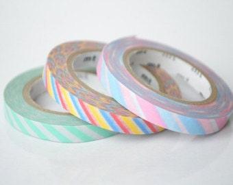 Thin washi tape 3pcs x 6mm x 10M Mt 3 colors set