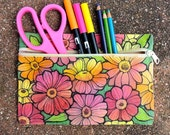 Doodlicious Floral Zippered Pouch 02 (8.5 x 5.75 inches)