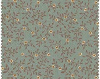 SALE Green Tea and Iced Mocha Small Floral on Soft Blue 100% Cotton Quilt Fabric for Sale, Henry Glass 8066, Fabric on Sale, Calico Fabric