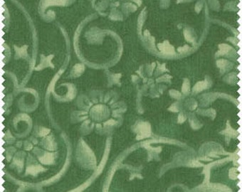 """Green Monotone Floral Wide Back 108"""" Wide 100% Cotton Backing Quilt Fabric by the Yard, Material by the Yard, Fabric for Sale"""