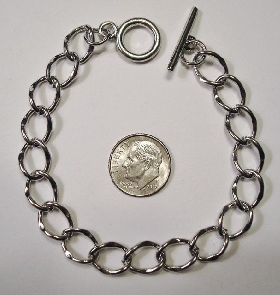 silver color 8 in large link charm bracelet chain add