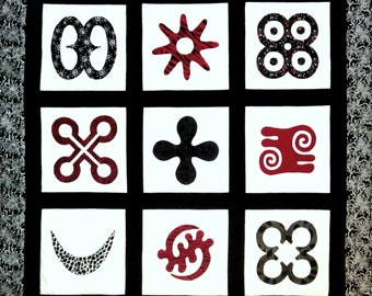 "Adinkra Symbols-- Quilted Wall Hanging in Red, White and Black --""A Man Of Valor"""