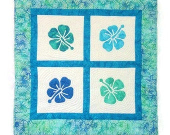 Quilted Hawaiian Wall Hanging - Hibiscus Flowers in Blues and Greens