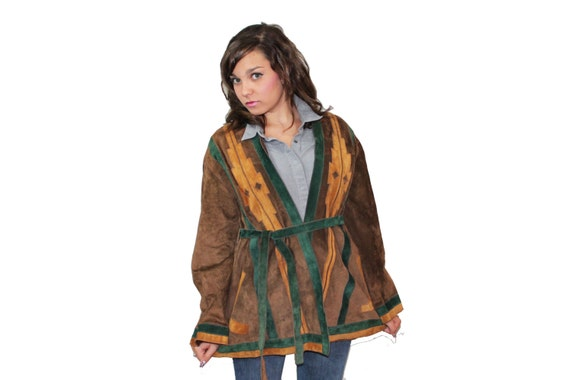 70s Suede Coat Jacket Hippie Boho Southwestern Indian Brown Leather Medium M Vintage 1960s Aztec Womens Winter Fashion