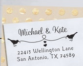 Self Inking Address Stamp - Custom Rubber Stamp - Birds and Heart String