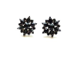 Vintage Weiss Star Earrings Jet Black Rhinestones Silver Tone 1950s