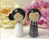 WEDDING CAKE TOPPER  Kokeshi Doll Wooden Wedding Cake Topper Kokeshi Cake Topper Peg Doll Wedding Decor