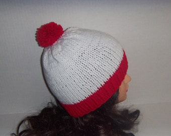 Red and White Striped Beanie With Pom Pom, Knitted White and Red Hat, Red Brim Hat