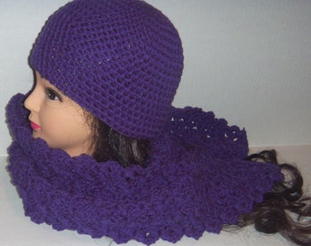 Hat and Scarf Set In Purple Crochet, Womans Accessories, Gifts for Women, Dark Lilac, Indigo