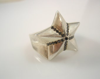 Genuine Ezi Zino silver star Black Diamonds 0.39 CT ring solid sterling silver 925