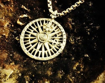 Compass Rose Map Pendant Necklace Sterling Silver 925
