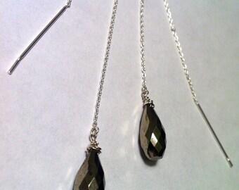 Silver Pyrite Earrings, Platinum Pyrite Threader Earrings, Long Chain Earrings, Oxidized Sterling Silver, Gift for Her