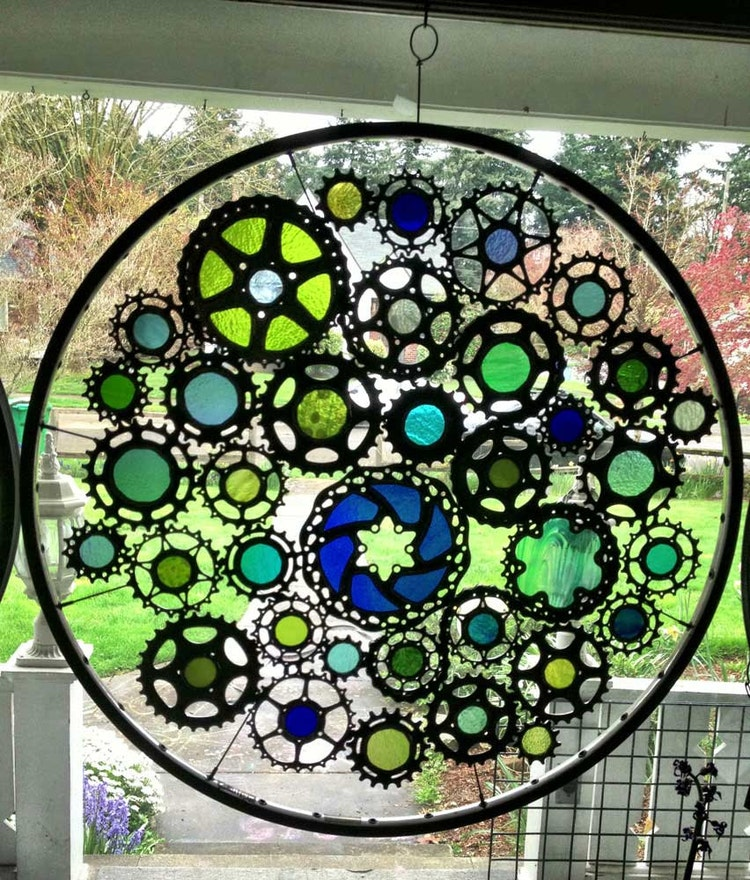 Stained Glass Bicycle Wheel Water Themed Recycled By