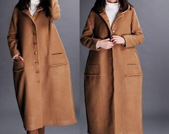 Camel wool long coats
