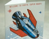 Baby Congratulations Letterpress card  - Welcome to Earth