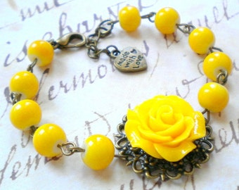 Yellow Bracelet Flower Bracelet Yellow Bridesmaid Bracelet Yellow Wedding Jewelry Summer Wedding Garden Bridesmaid Gift Rose Bracelet