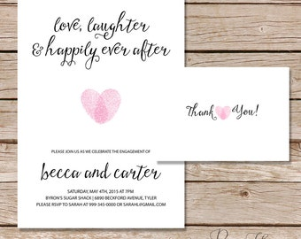 Modern engagement party invitation / couples shower invitation / happily ever after invitation / Printable digital file or printed cards