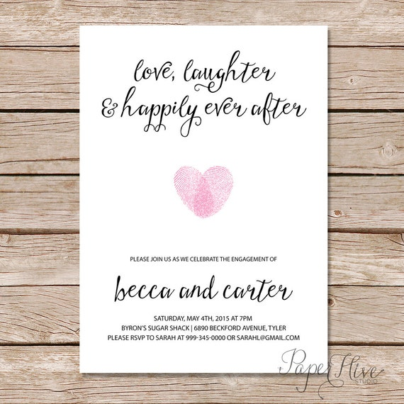 Engagement party invitation love laughter and happily ever for Wedding engagement party invitations