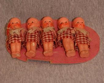 Reduced Vintage Miniature Dollhouse DIONNE Quintuplets Dolls