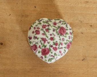 vintage rose chintz ceramic heart box
