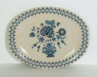 vintage johnson Bros platter jamestown blue onion staffordshire old granite