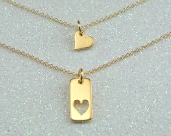 Mother Daughter Heart  Necklace- Two Gold Heart Charms-Free US Shipping