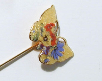 Colorful Yellow Butterfly with Flowers Stick Pin