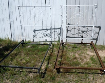 Set Of Two Twin Cast Iron Beds With Modern Frame Hollywood (20 % PRICE CUT APPLIED)
