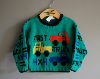 Vintage 80s TODDLER Boy Fast Truck Green SWEATER 12-24 month