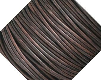 5 Meters Dark Antiqued Brown Leather Cord 2mm Round DAC-5