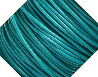 2mm Round Turquoise Leather Cord 3 Meters