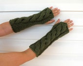 Arm Warmers, Hand Knit Fingerless Mittens, Fingerless Gloves, Cable Knit Gloves, Military Green Gloves, Soft Warm
