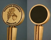 Wood Chalkboard Beer Tap Handle with Woodburned Logo - Made to Order from Solid Rock Maple, Peruvian Walnut, and Oak