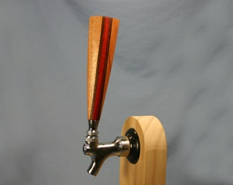 Wood Beer Tap Handle - African Mahogany with Peruvian Walnut and Padauk Stripes - 6 Inches Tall - Made To Order