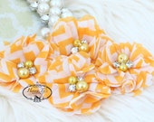 NEW: 4 pcs Aubrey ORANGE White Chevron Patterned - Soft Chiffon with pearls and rhinestones Layered Small Fabric Flowers, Hair accessories