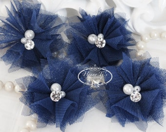 Elena TULLE : 4 pieces NAVY Blue Small Tulle Mesh Flowers With rhinestone Pearl Center Poof Flowers Hair accessories