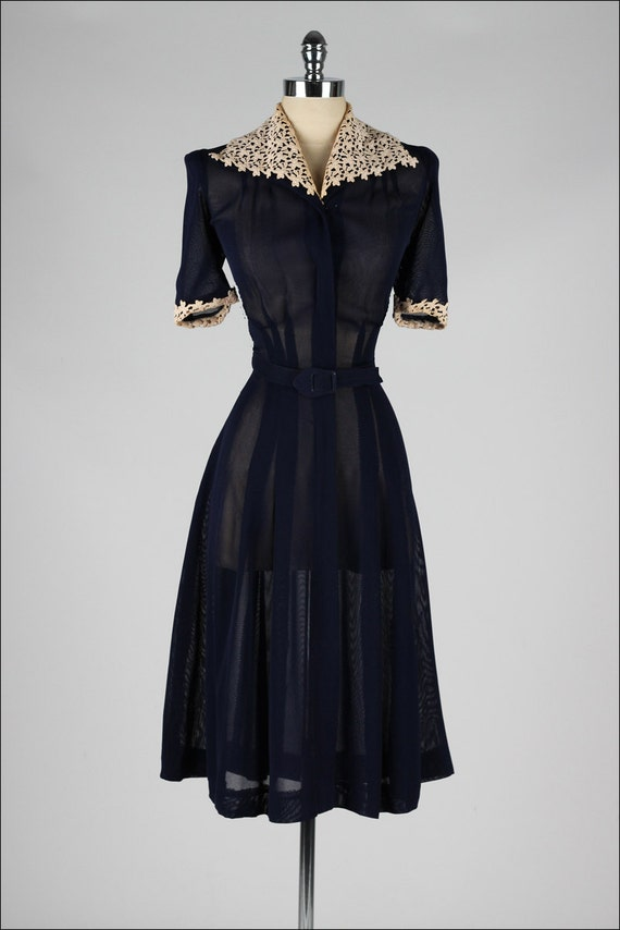 1940s Fashions In Red White Blue With Images: Vintage 1940s Dress . Blue Mesh With Lace Details . 4192