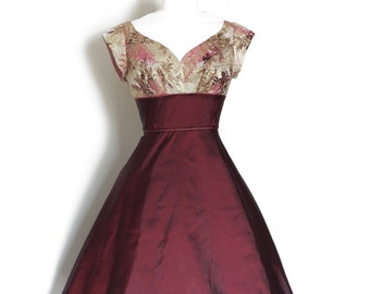 Gold & Pink Sparkly and Cranberry Taffeta Sweetheart Evening Dress - made by Dig For Victory