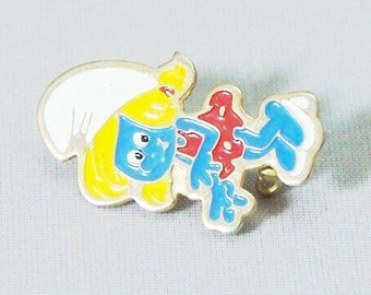 Vintage Smurfette Enamel Pin c1980