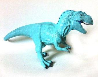 Hand Painted Light Teal Blue Tyrannosaurus Rex Dinosaur Toy Collectible Figurine