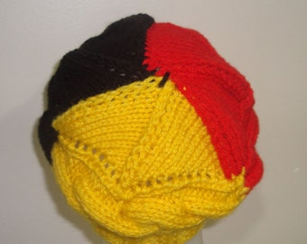 Belgium Flag Knit Hat Women Small Beret Beanie Winter Hand Knit Hat in Black Red Yellow