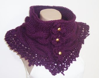 Womens Gift For Her Women's Scarves Unique Scarves Unique Handmade Scarves Purple Scarf Purple Knit Scarf