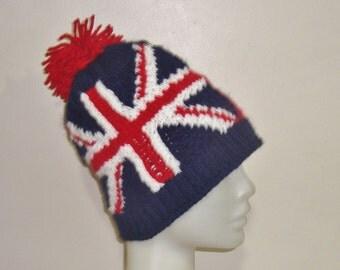 Canadian Flag & Union Jack Flag Beanie Hat, long distance birthday gift Canada and England Flag, Flag Hat, Custom Boyfriend Gift