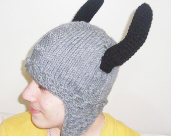 Viking Helmet style beanie hat - GRAY and BLACK - womens mens hat - viking accessories - knit viking hat - horns and earflap