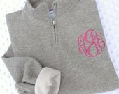 Shop Small SALE...Monogrammed 1/4 Zip Sweatshirt.. Quarter Zip... Pullover  ... Quick Shipping