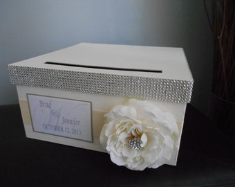 Vintage Glam Wedding Card Box ivory ribbon ivory rose rhinestones personalized tag You Customize Colors and Flowers 14 inch Large Wedding