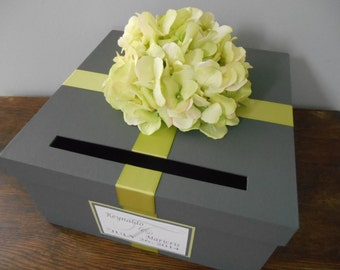 Custom Wedding Card Box Charcoal Gray with Green Hydrangeas You Can Customize Colors and Flowers 12 inch box Personalized Tag
