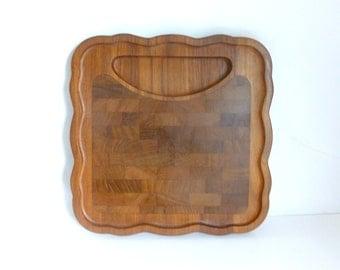 Vintage Danish Modern NISSEN DENMARK Teak Scalloped Cutting Board