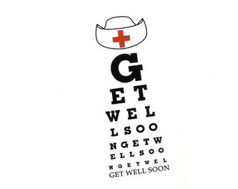 Eye Chart Card.Get Well Soon.Eye Chart.Eye Chart Card.Eye Exam.Eye Test.Eyes.Site.Vision.Optometrist. Eye Doctor. by Yvonne4eyes